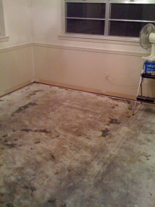 Floor after three gallons of adhesive remover
